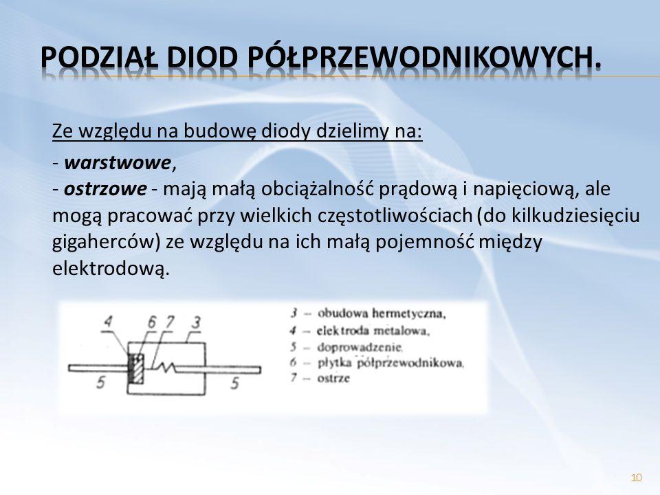 Ze względu na budowę diody dzielimy na: - warstwowe, - ostrzowe - mają małą obciążalność prądową i napięciową, ale mogą pracować przy wielkich częstot