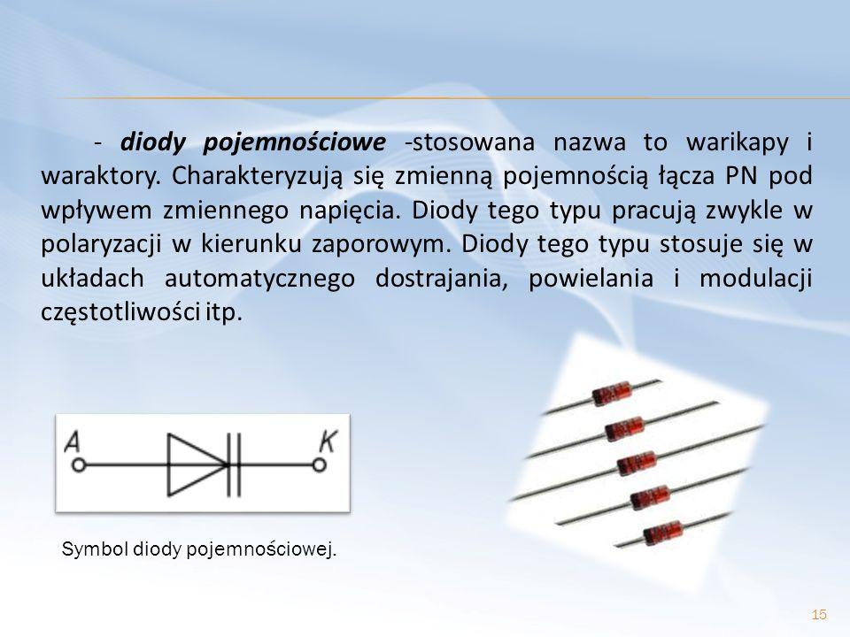 - diody pojemnościowe -stosowana nazwa to warikapy i waraktory. Charakteryzują się zmienną pojemnością łącza PN pod wpływem zmiennego napięcia. Diody