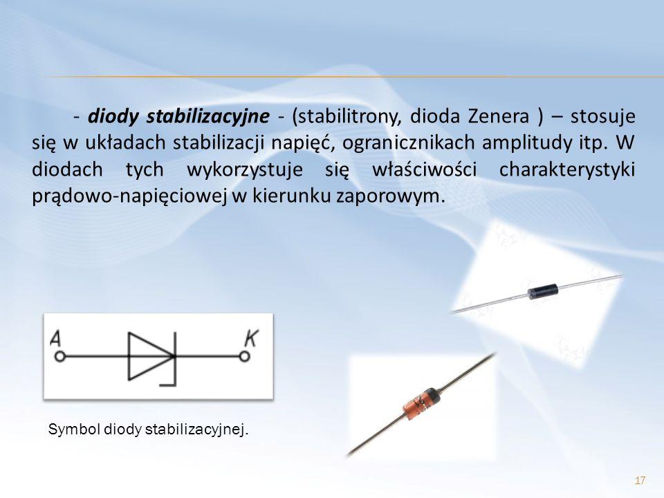- diody stabilizacyjne - (stabilitrony, dioda Zenera ) – stosuje się w układach stabilizacji napięć, ogranicznikach amplitudy itp. W diodach tych wyko