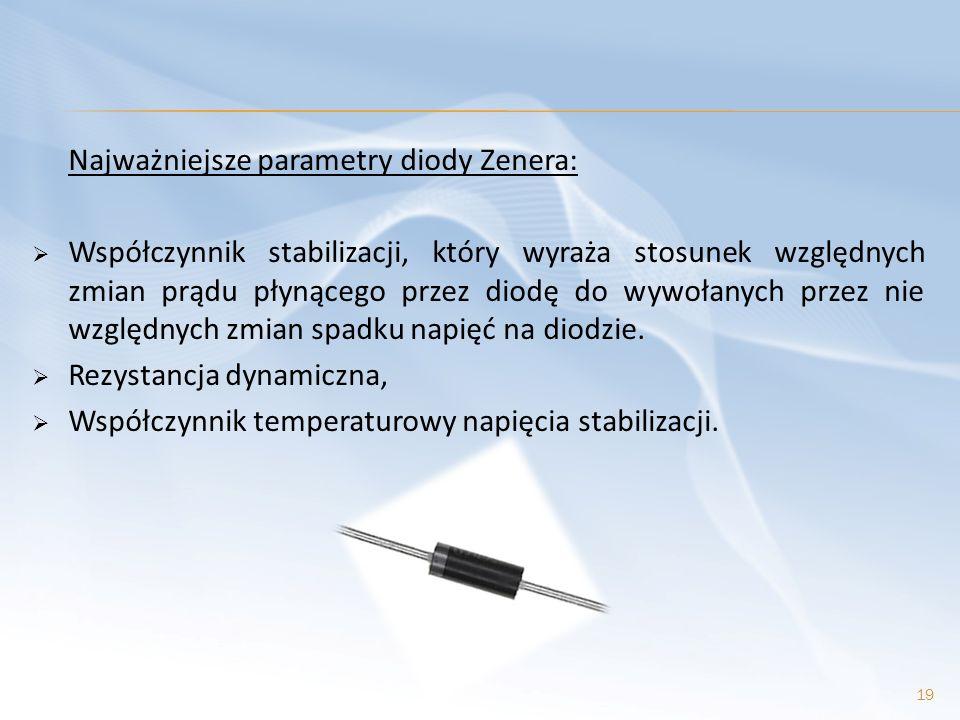 Najważniejsze parametry diody Zenera: Współczynnik stabilizacji, który wyraża stosunek względnych zmian prądu płynącego przez diodę do wywołanych prze