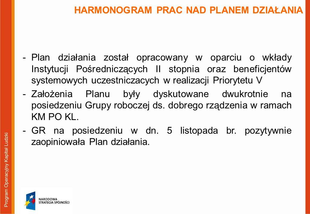 HARMONOGRAM PRAC NAD PLANEM DZIAŁANIA -Plan działania został opracowany w oparciu o wkłady Instytucji Pośredniczących II stopnia oraz beneficjentów systemowych uczestniczacych w realizacji Priorytetu V -Założenia Planu były dyskutowane dwukrotnie na posiedzeniu Grupy roboczej ds.