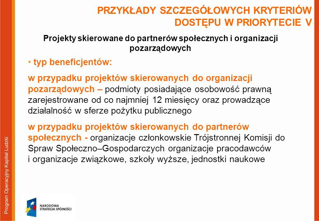 PRZYKŁADY SZCZEGÓŁOWYCH KRYTERIÓW DOSTĘPU W PRIORYTECIE V typ beneficjentów: w przypadku projektów skierowanych do organizacji pozarządowych – podmioty posiadające osobowość prawną zarejestrowane od co najmniej 12 miesięcy oraz prowadzące działalność w sferze pożytku publicznego w przypadku projektów skierowanych do partnerów społecznych - organizacje członkowskie Trójstronnej Komisji do Spraw Społeczno–Gospodarczych organizacje pracodawców i organizacje związkowe, szkoły wyższe, jednostki naukowe Projekty skierowane do partnerów społecznych i organizacji pozarządowych