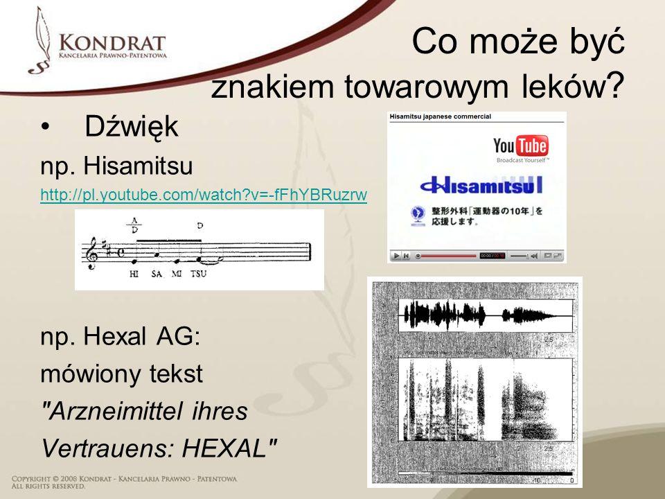 Co może być znakiem towarowym leków ? Dźwięk np. Hisamitsu http://pl.youtube.com/watch?v=-fFhYBRuzrw np. Hexal AG: mówiony tekst