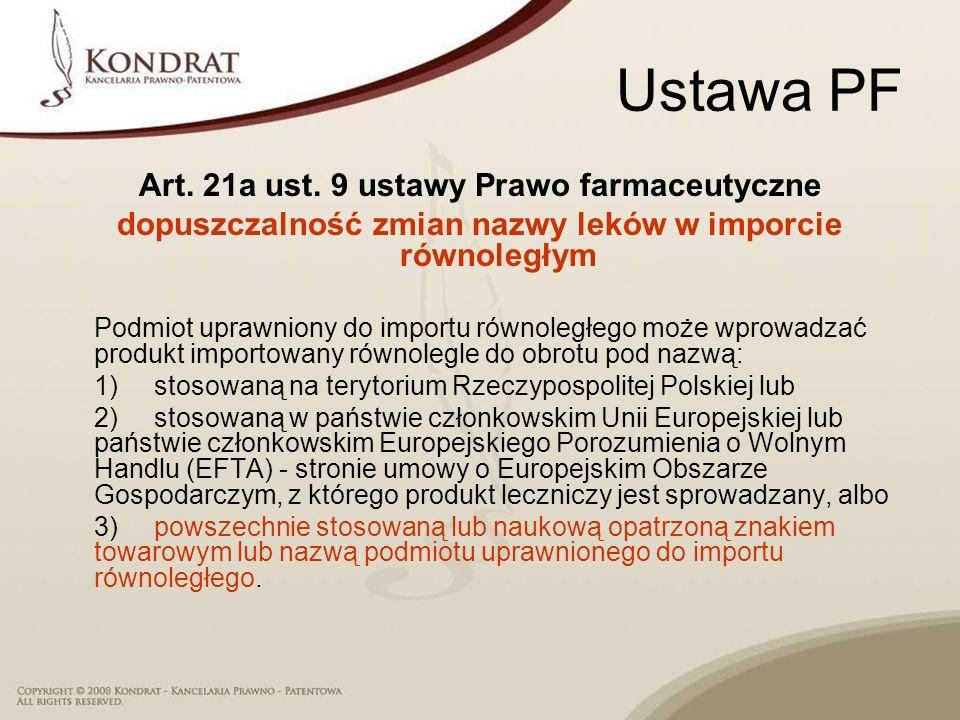 Ustawa PF Art. 21a ust. 9 ustawy Prawo farmaceutyczne dopuszczalność zmian nazwy leków w imporcie równoległym Podmiot uprawniony do importu równoległe