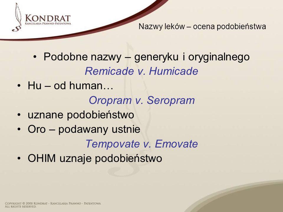 Nazwy leków – ocena podobieństwa Podobne nazwy – generyku i oryginalnego Remicade v. Humicade Hu – od human… Oropram v. Seropram uznane podobieństwo O