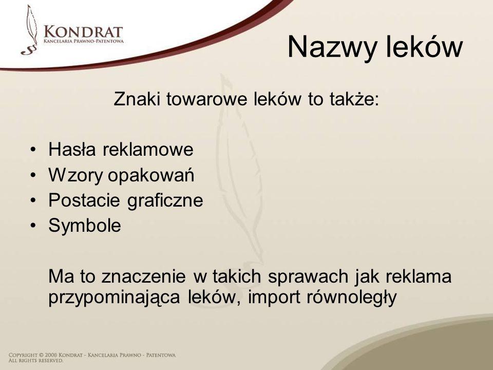Nazwy leków Znaki towarowe leków to także: Hasła reklamowe Wzory opakowań Postacie graficzne Symbole Ma to znaczenie w takich sprawach jak reklama prz