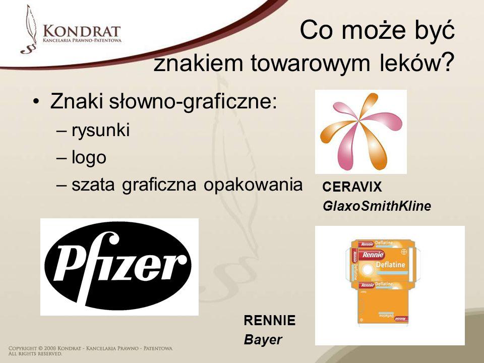Co może być znakiem towarowym leków ? Znaki słowno-graficzne: –rysunki –logo –szata graficzna opakowania CERAVIX GlaxoSmithKline RENNIE Bayer