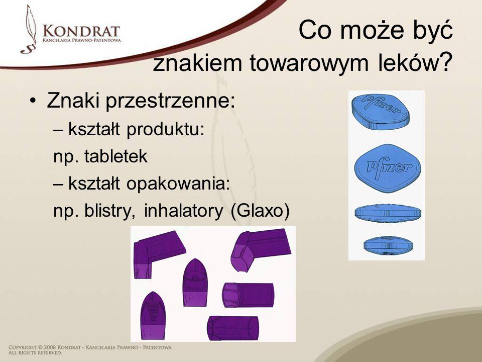 Co może być znakiem towarowym leków ? Znaki przestrzenne: –kształt produktu: np. tabletek –kształt opakowania: np. blistry, inhalatory (Glaxo)