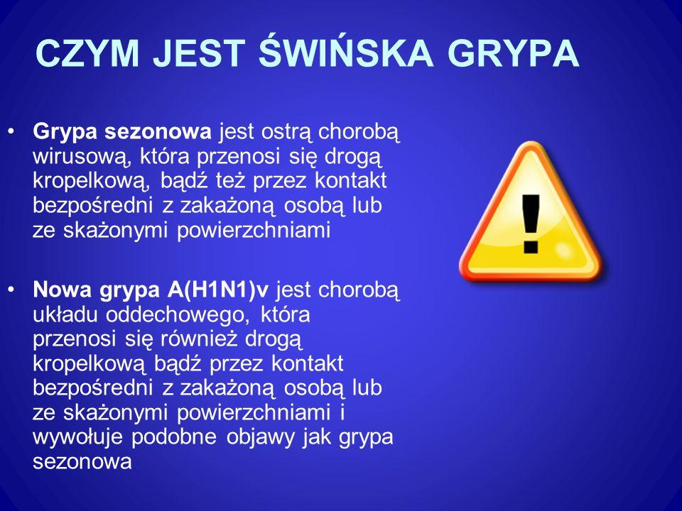 PROFILAKTYKA GRYPY SEZONOWEJ I NOWEJ GRYPY A(H1N1) Opracowała Marzena Kaszyńska
