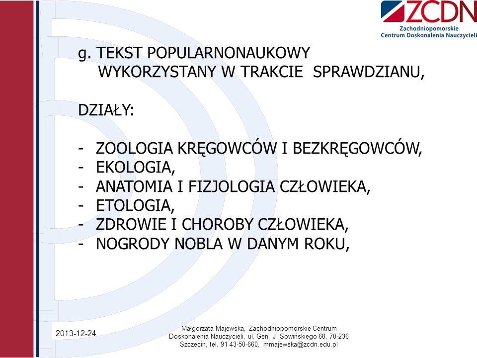 2013-12-24 Małgorzata Majewska, Zachodniopomorskie Centrum Doskonalenia Nauczycieli, ul.
