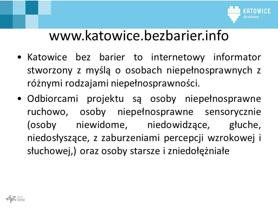 Katowice bez barier to internetowy informator stworzony z myślą o osobach niepełnosprawnych z różnymi rodzajami niepełnosprawności. Odbiorcami projekt