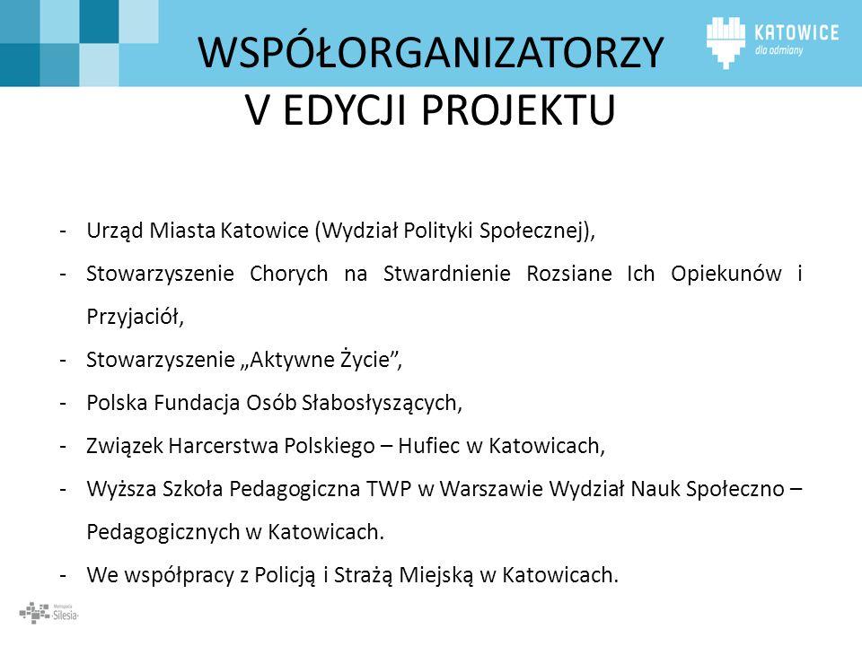 WSPÓŁORGANIZATORZY V EDYCJI PROJEKTU -Urząd Miasta Katowice (Wydział Polityki Społecznej), -Stowarzyszenie Chorych na Stwardnienie Rozsiane Ich Opieku