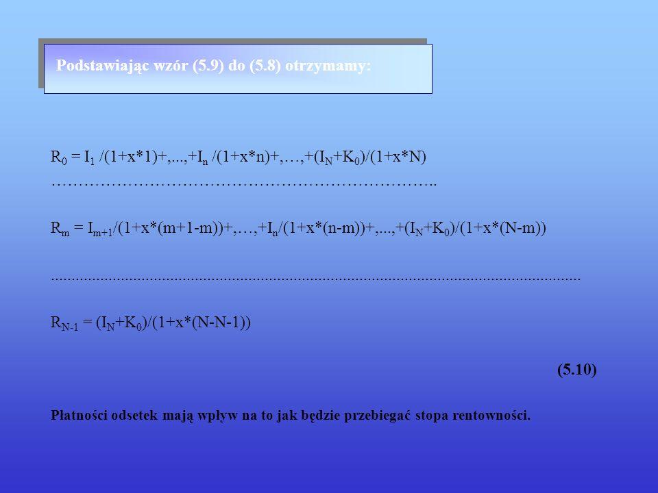 Podstawiając wzór (5.9) do (5.8) otrzymamy: R 0 = I 1 /(1+x*1)+,...,+I n /(1+x*n)+,…,+(I N +K 0 )/(1+x*N) …………………………………………………………….. R m = I m+1 /(1+x*