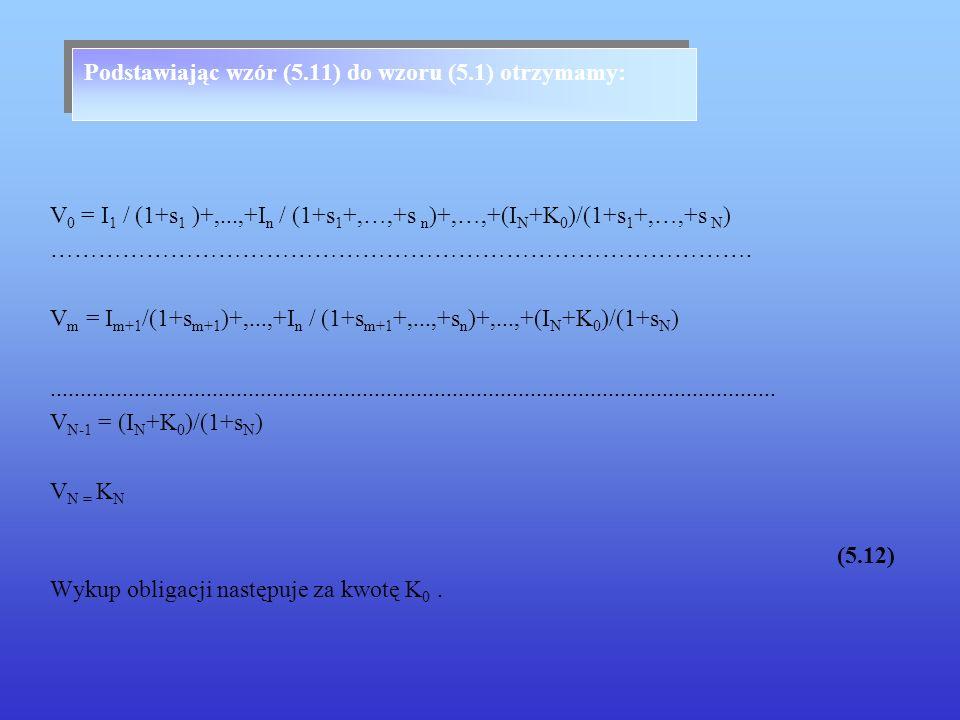 Podstawiając wzór (5.11) do wzoru (5.1) otrzymamy: V 0 = I 1 / (1+s 1 )+,...,+I n / (1+s 1 +,…,+s n )+,…,+(I N +K 0 )/(1+s 1 +,…,+s N ) ……………………………………