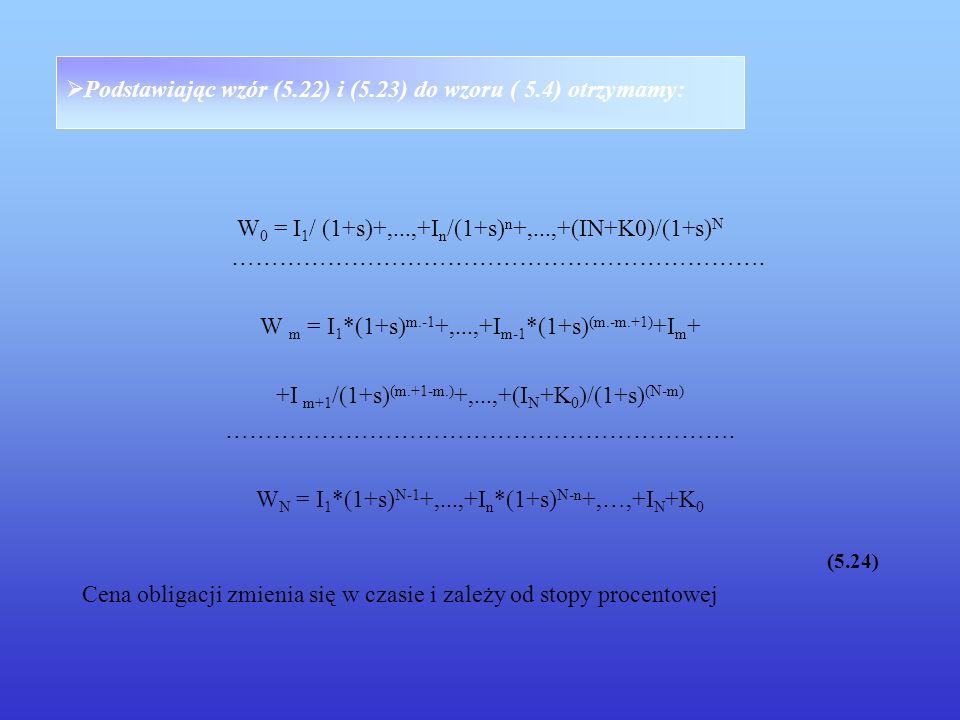 Podstawiając wzór (5.22) i (5.23) do wzoru ( 5.4) otrzymamy: W 0 = I 1 / (1+s)+,...,+I n /(1+s) n +,...,+(IN+K0)/(1+s) N …………………………………………………………. W m =