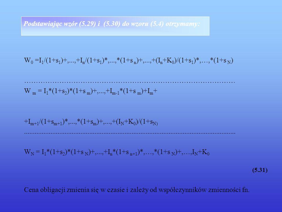 Podstawiając wzór (5.29) i (5.30) do wzoru (5.4) otrzymamy: W 0 =I 1 /(1+s 1 )+,...,+I n /(1+s 1 )*,...,*(1+s n )+,...,+(I n +K 0 )/(1+s 1 )*,…,*(1+s