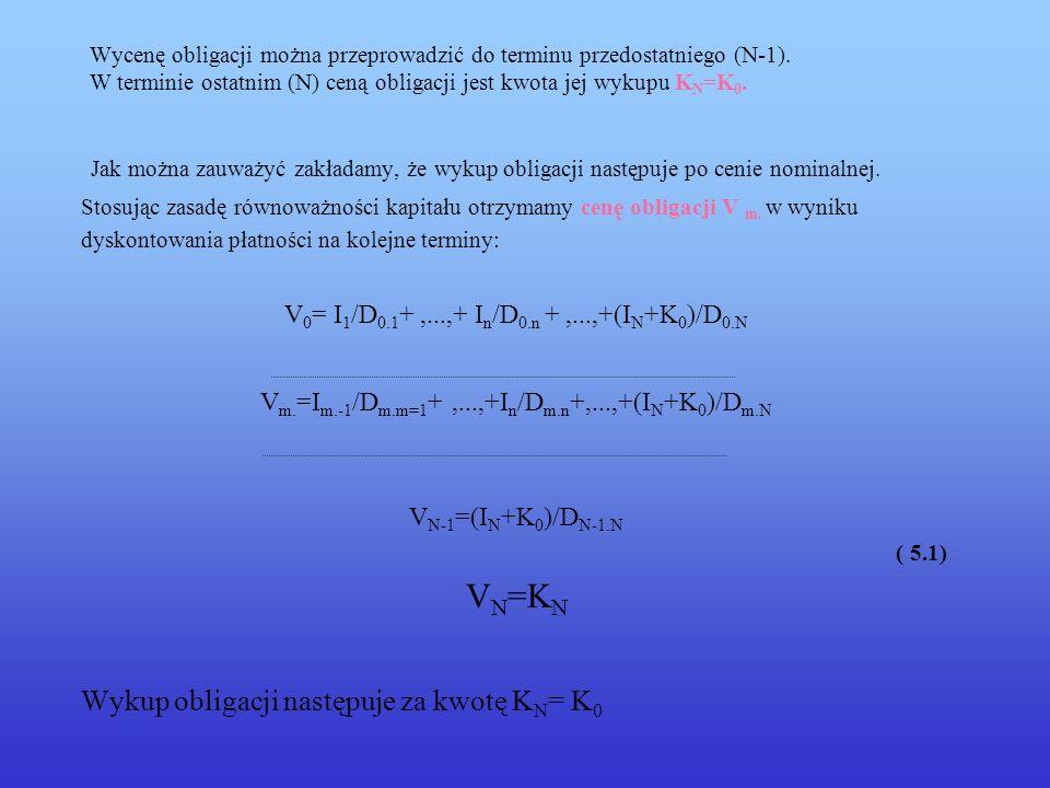 5.2 Oprocentowanie proste – stopa zmienna Wartość obligacji Załóżmy, że dane są: K 0 – wartość nominalna N- liczba okresów płatności odsetek s - stopa procentowa I N dla n = 1,...,N – odsetki Wyznaczymy wartość obligacji W m w terminach m.= 0,1,...,N.