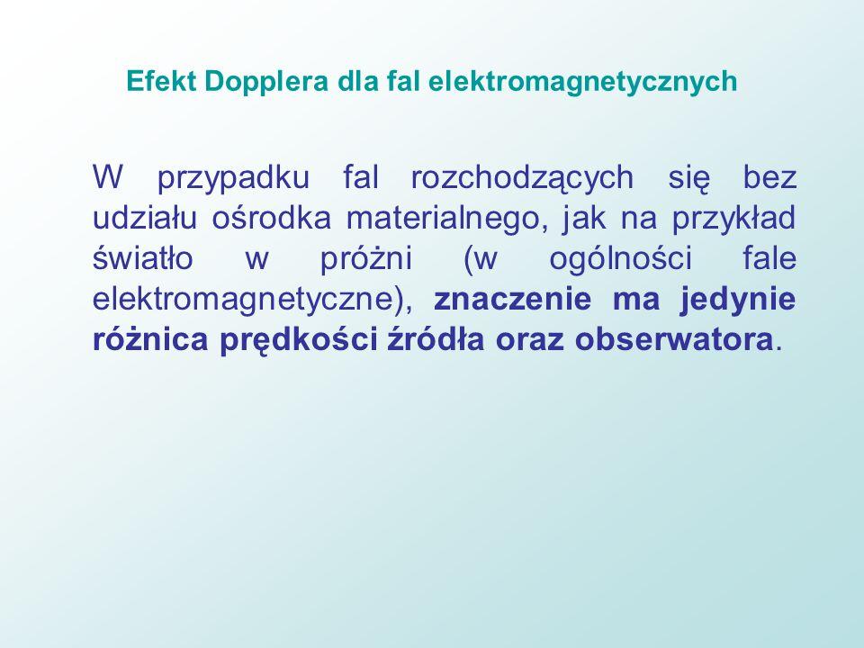 Efekt Dopplera dla fal elektromagnetycznych W przypadku fal rozchodzących się bez udziału ośrodka materialnego, jak na przykład światło w próżni (w og