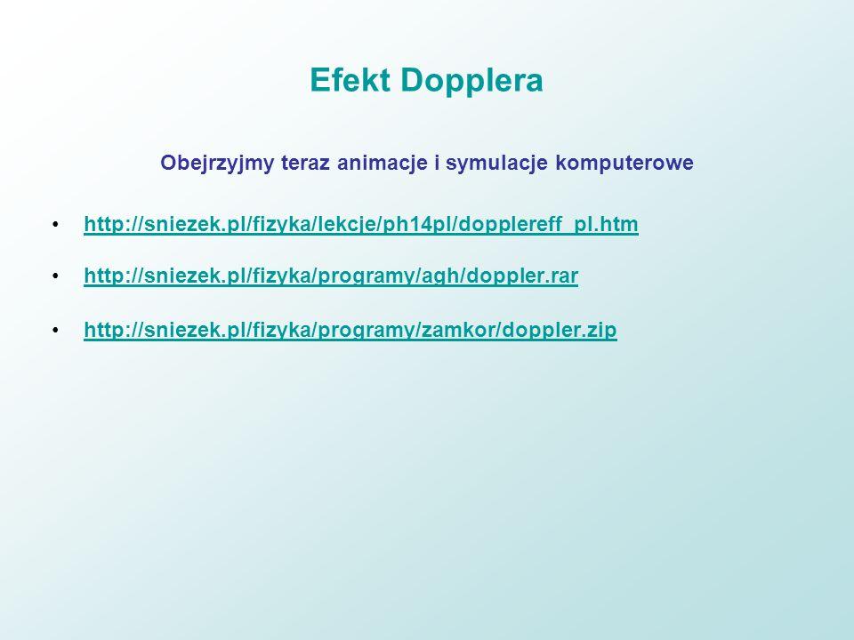 Efekt Dopplera Obejrzyjmy teraz animacje i symulacje komputerowe http://sniezek.pl/fizyka/lekcje/ph14pl/dopplereff_pl.htm http://sniezek.pl/fizyka/pro