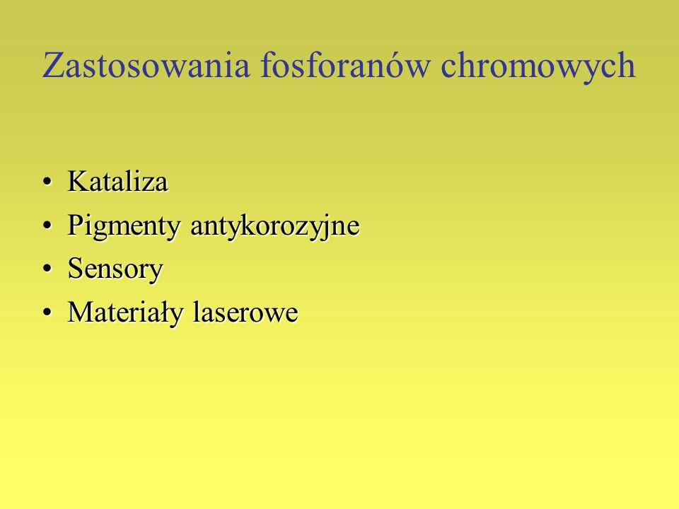 Zastosowania fosforanów chromowych KatalizaKataliza Pigmenty antykorozyjnePigmenty antykorozyjne SensorySensory Materiały laseroweMateriały laserowe