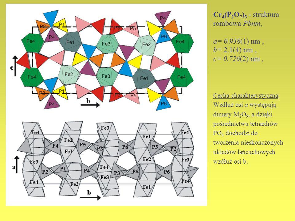 Cr 4 (P 2 O 7 ) 3 - struktura rombowa Pbnm, a= 0.938(1) nm, b= 2.1(4) nm, c= 0.726(2) nm, Cecha charakterystyczna: Wzdłuż osi a występują dimery M 2 O