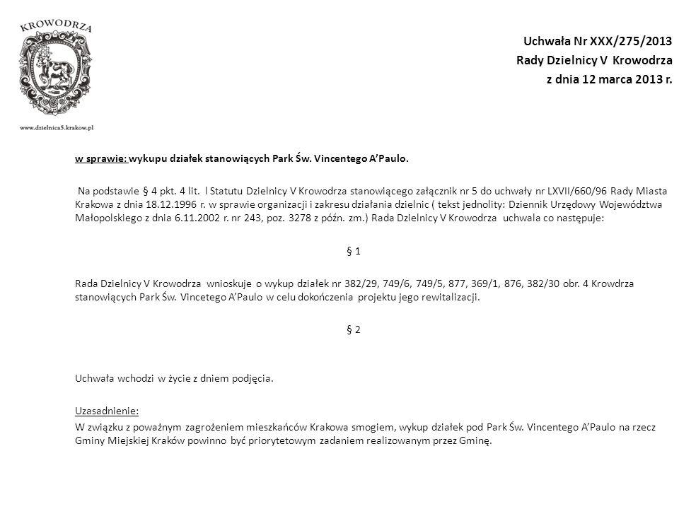 Uchwała Nr XXX/275/2013 Rady Dzielnicy V Krowodrza z dnia 12 marca 2013 r.