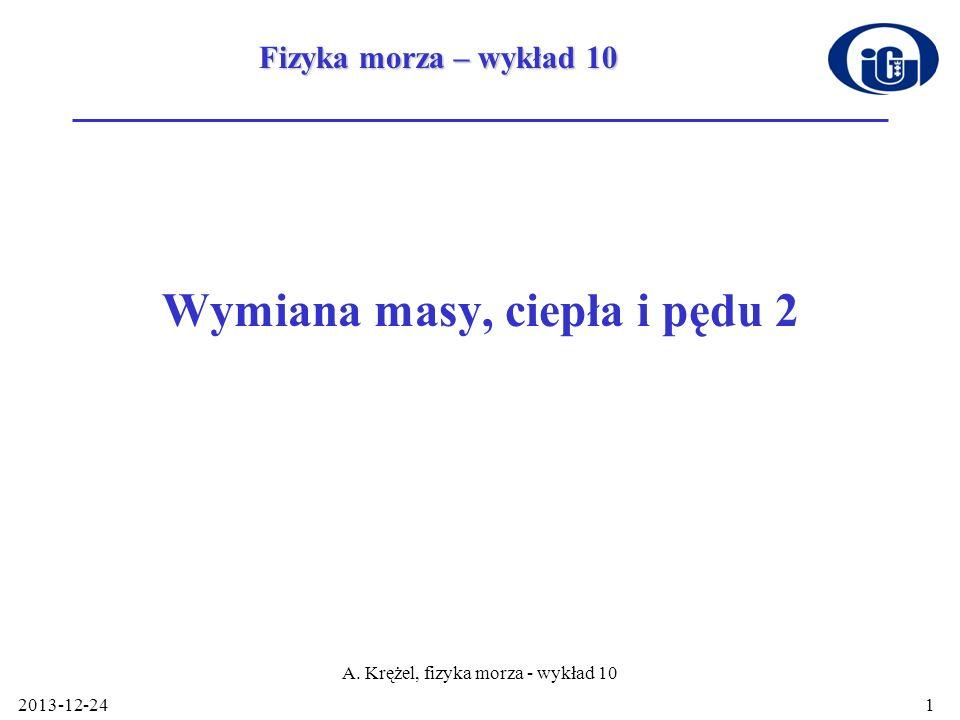 2013-12-24 A. Krężel, fizyka morza - wykład 10 1 Wymiana masy, ciepła i pędu 2 Fizyka morza – wykład 10
