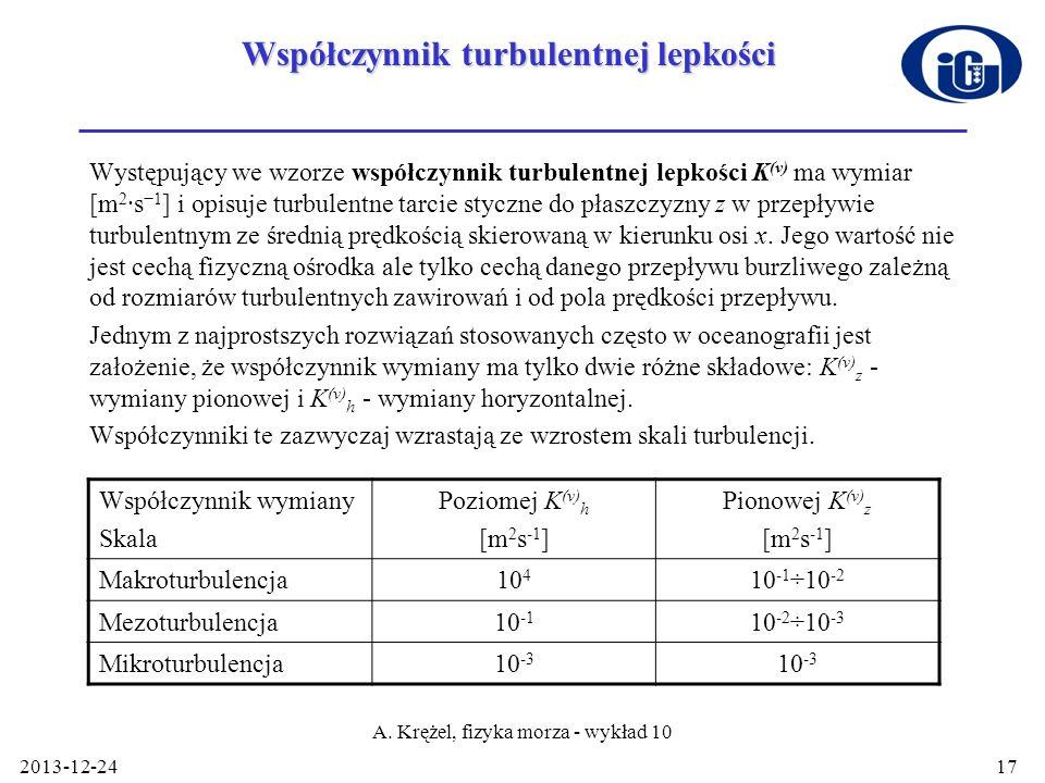 2013-12-24 A. Krężel, fizyka morza - wykład 10 17 Współczynnik turbulentnej lepkości Występujący we wzorze współczynnik turbulentnej lepkości K (v) ma
