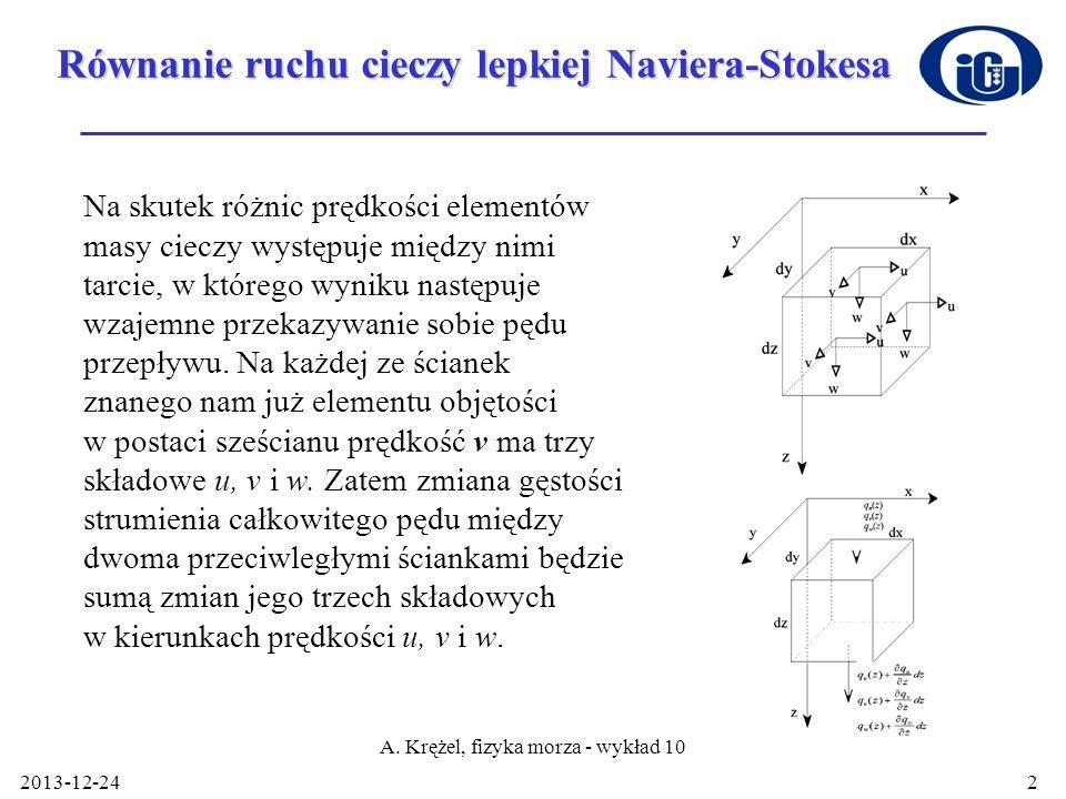 2013-12-24 A. Krężel, fizyka morza - wykład 10 2 Równanie ruchu cieczy lepkiej Naviera-Stokesa Na skutek różnic prędkości elementów masy cieczy występ