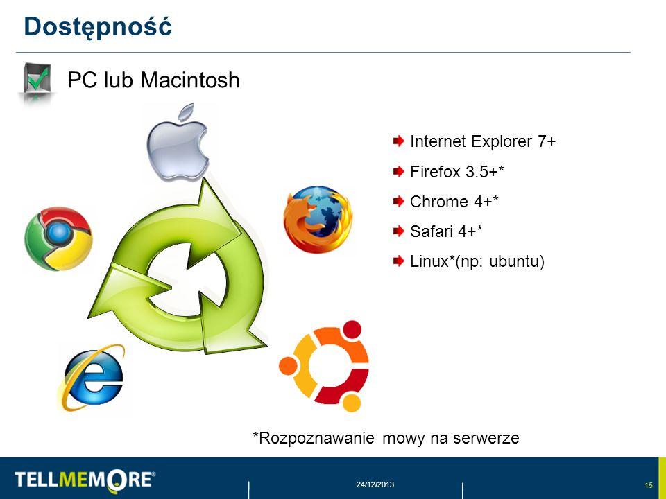 15 24/12/2013 Dostępność PC lub Macintosh *Rozpoznawanie mowy na serwerze Internet Explorer 7+ Firefox 3.5+* Chrome 4+* Safari 4+* Linux*(np: ubuntu)