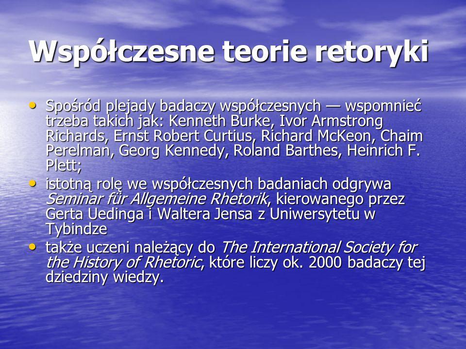 Współczesne teorie retoryki Spośród plejady badaczy współczesnych wspomnieć trzeba takich jak: Kenneth Burke, Ivor Armstrong Richards, Ernst Robert Cu
