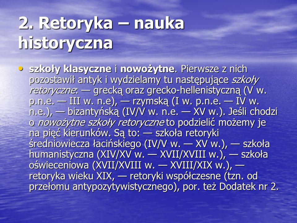 2. Retoryka – nauka historyczna szkoły klasyczne i nowożytne. Pierwsze z nich pozostawił antyk i wydzielamy tu następujące szkoły retoryczne: grecką o
