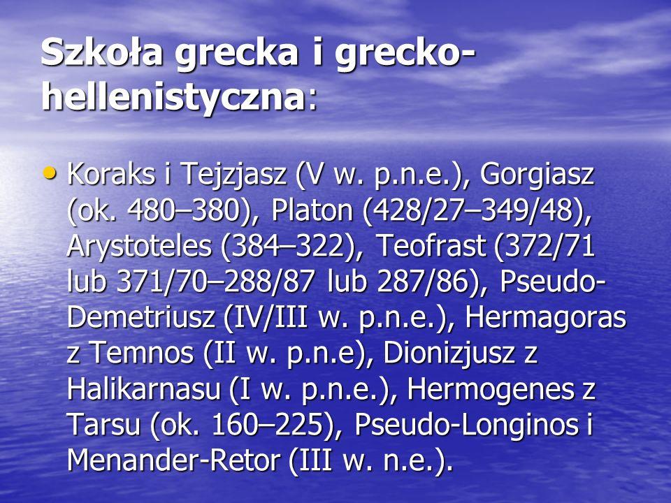 Szkoła grecka i grecko- hellenistyczna: Koraks i Tejzjasz (V w. p.n.e.), Gorgiasz (ok. 480–380), Platon (428/27–349/48), Arystoteles (384–322), Teofra