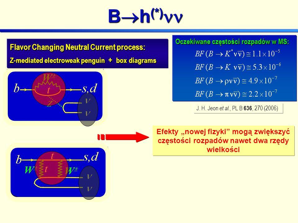 Oczekiwane częstości rozpadów w MS: B h (*) B h (*) J.