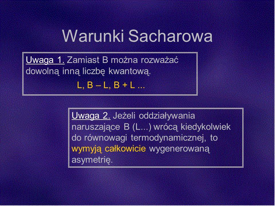 Warunki Sacharowa Uwaga 1. Zamiast B można rozważać dowolną inną liczbę kwantową.