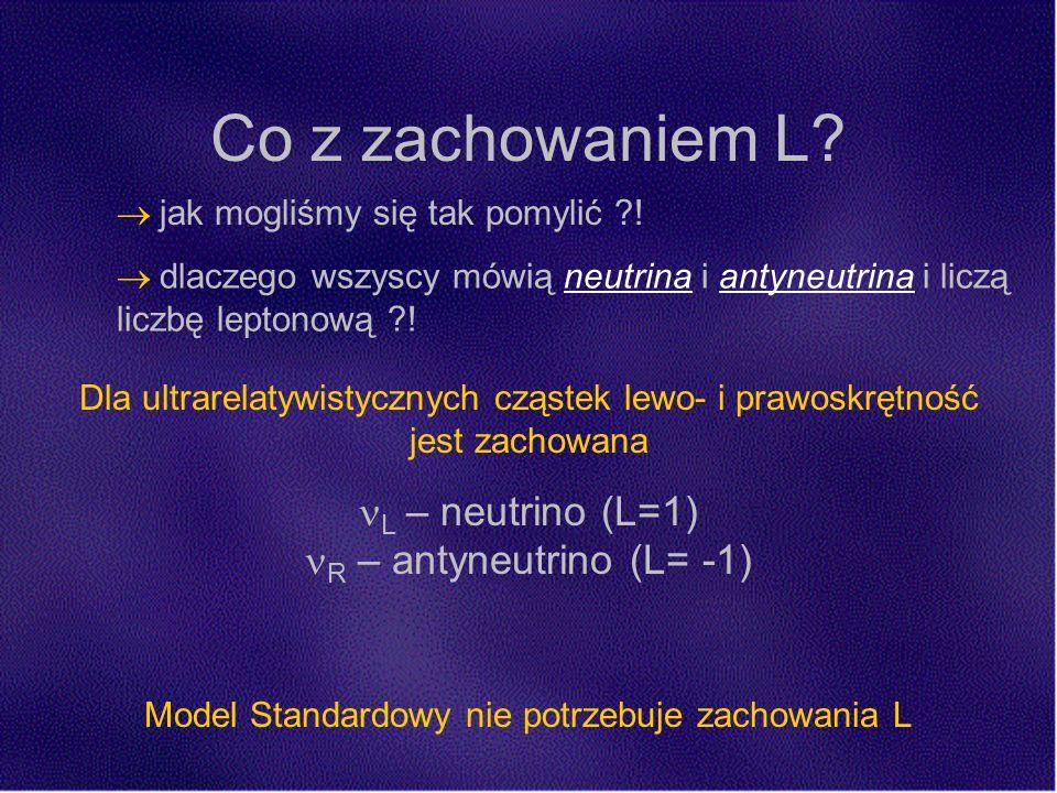 Co z zachowaniem L. Model Standardowy nie potrzebuje zachowania L jak mogliśmy się tak pomylić .