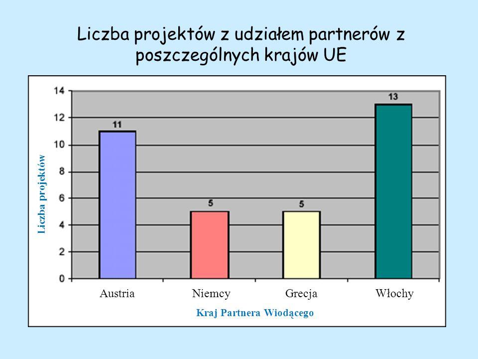 Liczba projektów z udziałem partnerów z poszczególnych krajów UE Kraj Partnera Wiodącego AustriaNiemcyGrecjaWłochy Liczba projektów