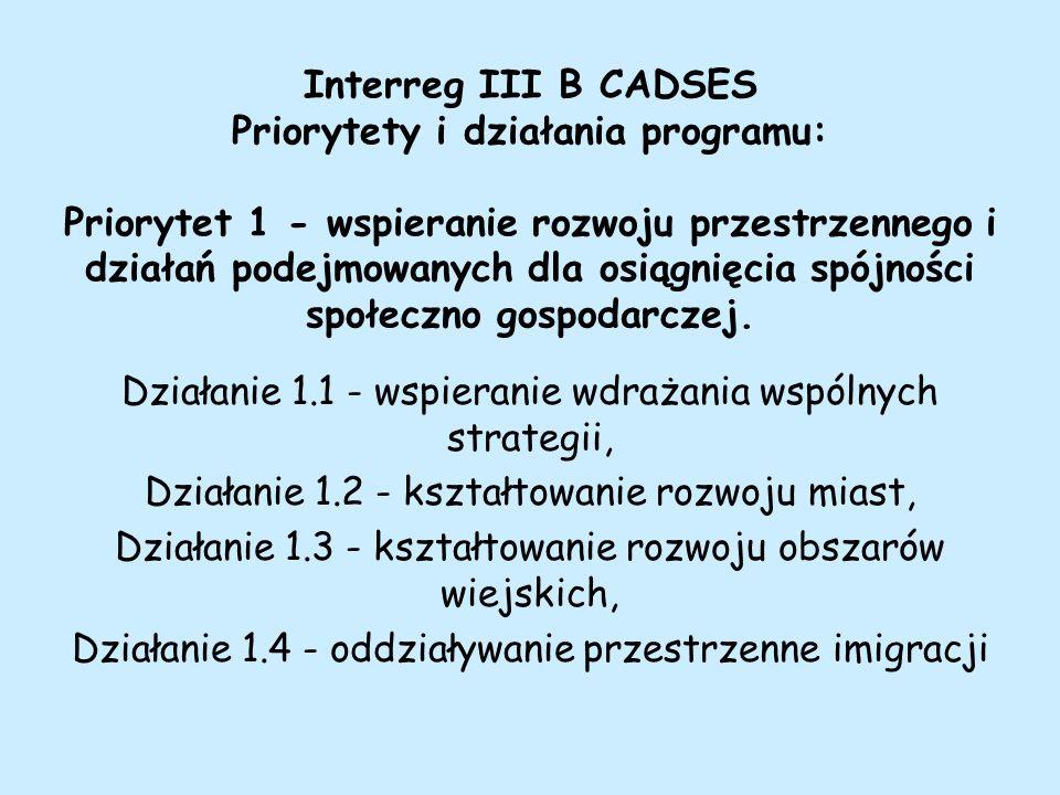 Interreg III B CADSES Priorytety i działania programu: Priorytet 1 - wspieranie rozwoju przestrzennego i działań podejmowanych dla osiągnięcia spójności społeczno gospodarczej.