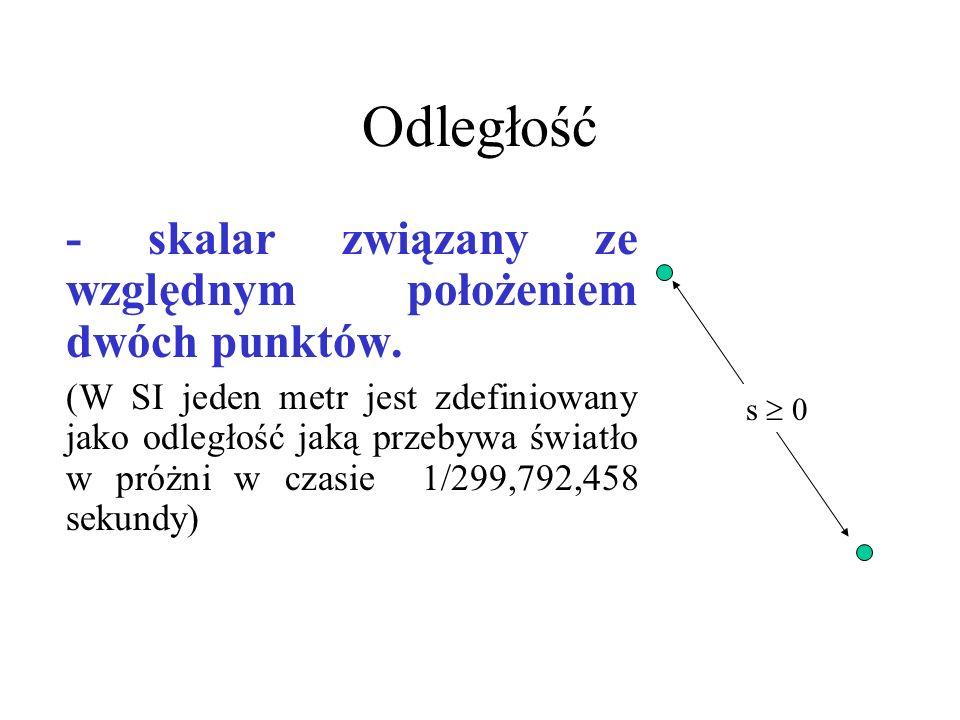 Odległość - skalar związany ze względnym położeniem dwóch punktów. (W SI jeden metr jest zdefiniowany jako odległość jaką przebywa światło w próżni w