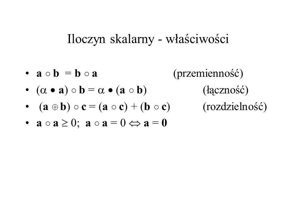 Iloczyn skalarny - właściwości a b = b a (przemienność) ( a) b = (a b)(łączność) (a b) c = (a c) + (b c) (rozdzielność) a a 0; a a = 0 a = 0