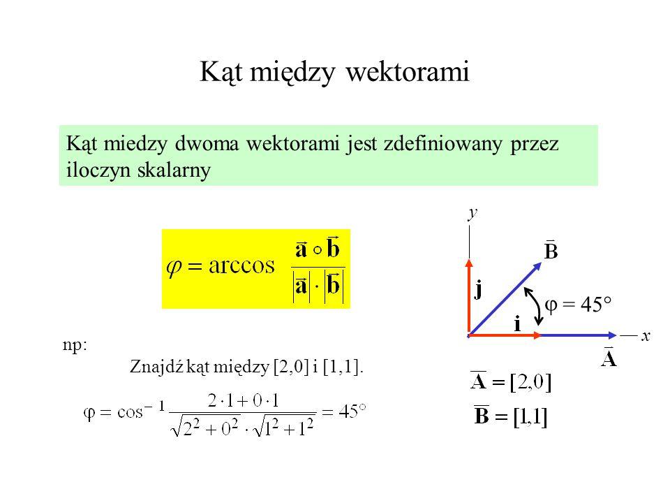 Kąt między wektorami Kąt miedzy dwoma wektorami jest zdefiniowany przez iloczyn skalarny np: Znajdź kąt między [2,0] i [1,1]. x y = 45