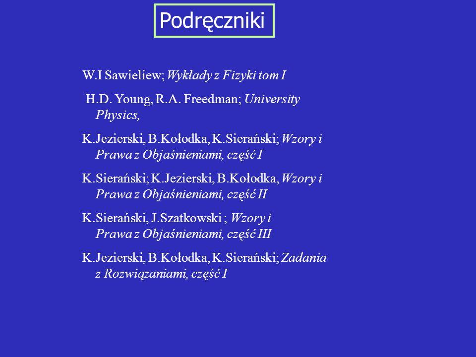 Podręczniki W.I Sawieliew; Wykłady z Fizyki tom I H.D. Young, R.A. Freedman; University Physics, K.Jezierski, B.Kołodka, K.Sierański; Wzory i Prawa z