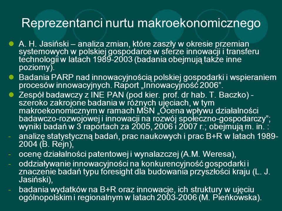 Reprezentanci nurtu makroekonomicznego A. H. Jasiński – analiza zmian, które zaszły w okresie przemian systemowych w polskiej gospodarce w sferze inno