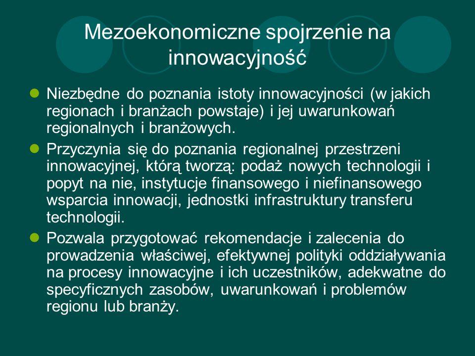Mezoekonomiczne spojrzenie na innowacyjność Niezbędne do poznania istoty innowacyjności (w jakich regionach i branżach powstaje) i jej uwarunkowań reg