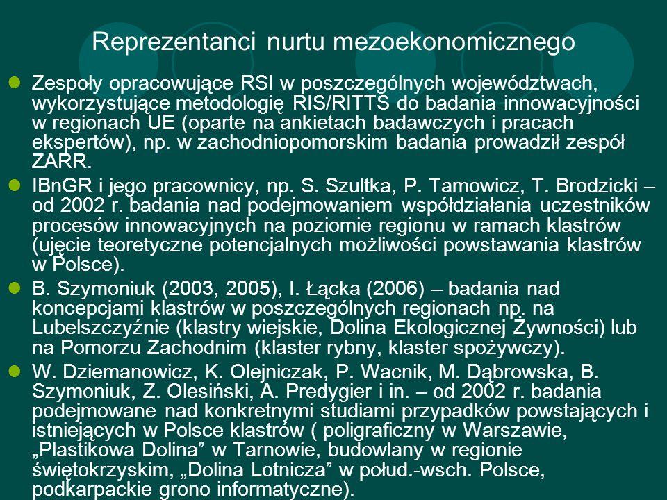 Reprezentanci nurtu mezoekonomicznego Zespoły opracowujące RSI w poszczególnych województwach, wykorzystujące metodologię RIS/RITTS do badania innowac