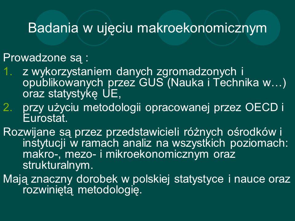 Badania w ujęciu makroekonomicznym Prowadzone są : 1.z wykorzystaniem danych zgromadzonych i opublikowanych przez GUS (Nauka i Technika w…) oraz staty