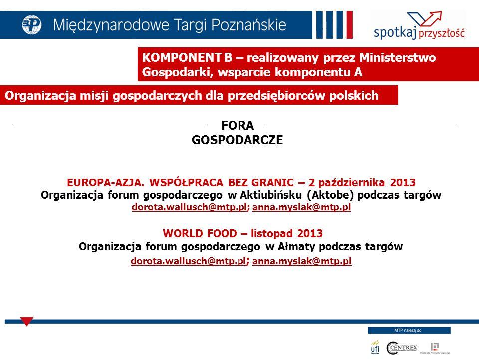 KOMPONENT B – instytucja zarządzając Ministerstwo Gospodarki, wsparcie komponentu A Misje przyjazdowe dziennikarzy kazachskich MISJE DZIENNIKARZY marzec 2013 branża meblowa maj 2013 branża petrochemiczna oraz energetyka kwiecień 2013 branża kosmetyczna wrzesień 2013 branża rolno-spożywcza wrzesień 2013 maszyny, urządzenia oraz chemia dla rolnictwa wrzesień 2013 branża wydobywcza i górnicza wrzesień 2013 branża sprzęt medyczny i farmacja listopad 2013 branża technologii środowiskowych