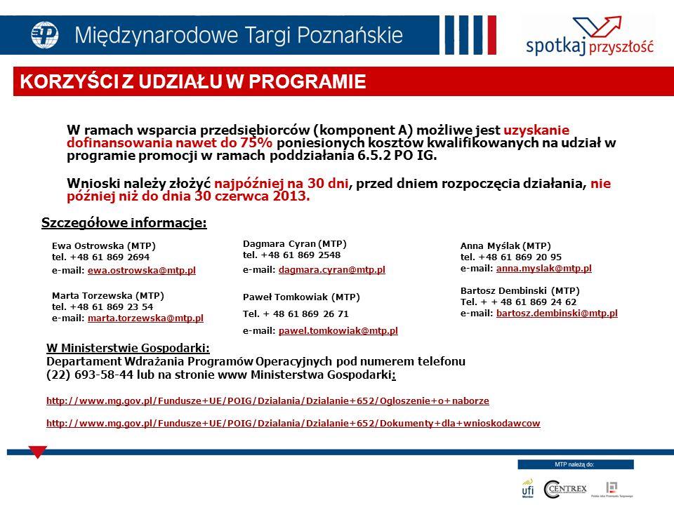 PODDZIAŁANIE 6.5.2 Cel: wzmocnienie konkurencyjności gospodarki poprzez poprawę wizerunku polskiej gospodarki na rynkach międzynarodowych nawiązanie przez przedsiębiorców kontaktów gospodarczych wypromowanie polskich specjalności eksportowych