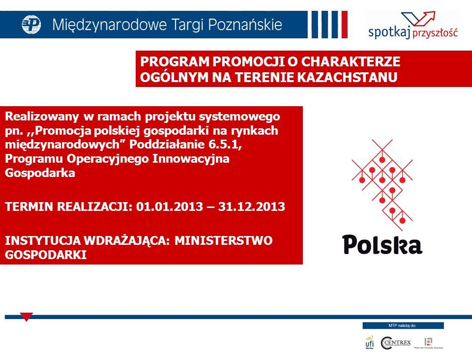 PODDZIAŁANIE 6.5.1 Cel: poprawa wizerunku polskiej gospodarki wśród partnerów międzynarodowych poprawa dostępu do informacji zarówno o Polsce jak i warunkach prowadzenia działalności gospodarczej poza jej granicami wzrost inwestycji polskich przedsiębiorców na rynkach zagranicznych rozwój branż priorytetowych z punktu widzenia realizacji projektu