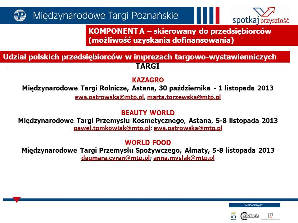 KOMPONENT A – skierowany do przedsiębiorców (możliwość uzyskania dofinansowania) Organizacja misji gospodarczych dla przedsiębiorców polskich MISJE POWER KAZAKHSTAN Ałmaty, październik/listopad 2013 bartosz.dembinski@mtp.pl bartosz.dembinski@mtp.pl MEBLE i WYPOSAŻENIE WNĘTRZ Ałmaty, czerwiec 2013 dagmara.cyran@mtp.pl dagmara.cyran@mtp.pl KAZAGRO Astana, październik 2013 ewa.ostrowska@mtp.pl ewa.ostrowska@mtp.pl WORLD FOOD Ałmaty, listopad 2013 dagmara.cyran@mtp.pl dagmara.cyran@mtp.pl
